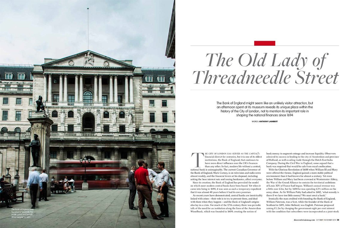 City shot of the Bank of England shot for Discover Britain Magazine - By Paris Penny - Commercial photographer Bristol