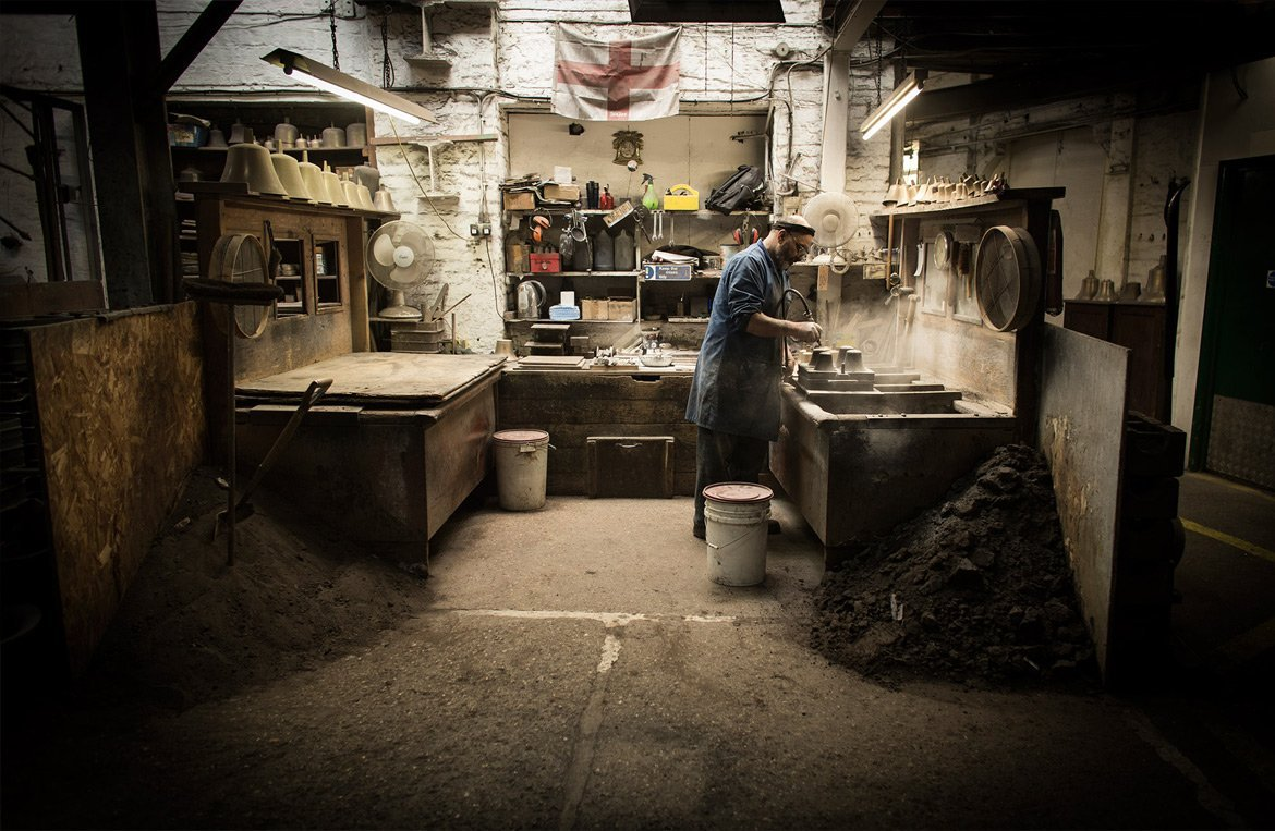 Manufacturing process of the Whitechapel Bell Foundry, for Discover Britain - By Paris Penny - commercial photographer Bristol