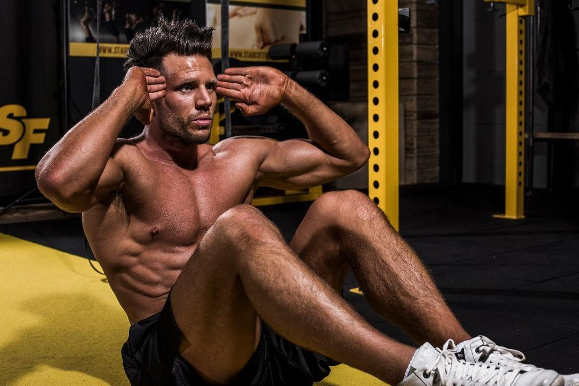 Man doing situp in Starks Fitness Gym - By Paris Penny - Commercial photographer Bristol