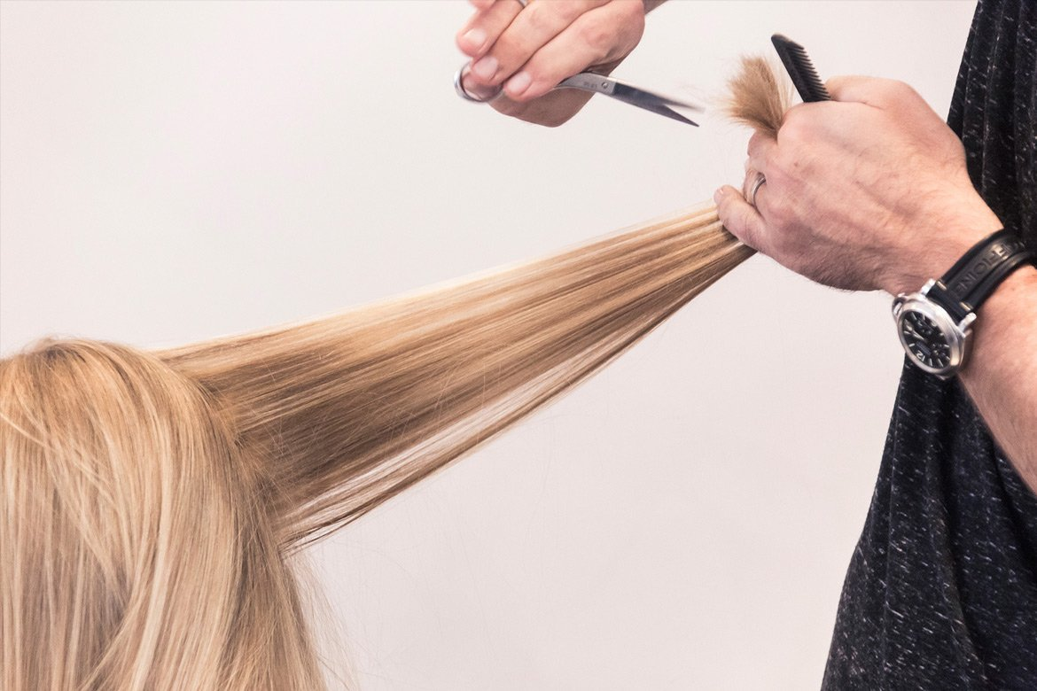 Cutting long blond hair Maximum FX Hair Salon - By Paris Penny - commercial photographer Bristol