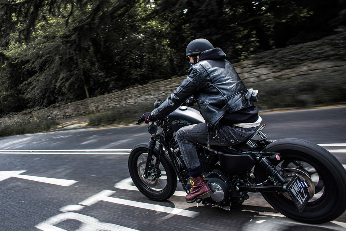 Custom Harley Davidson, wide panning shot - By Paris Penny - commercial photographer Bristol