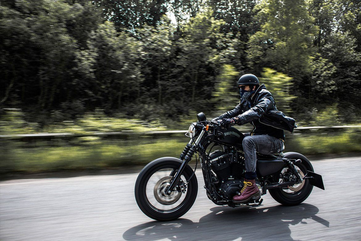 Custom Harley Davidson, panning shot - By Paris Penny - commercial photographer Bristol