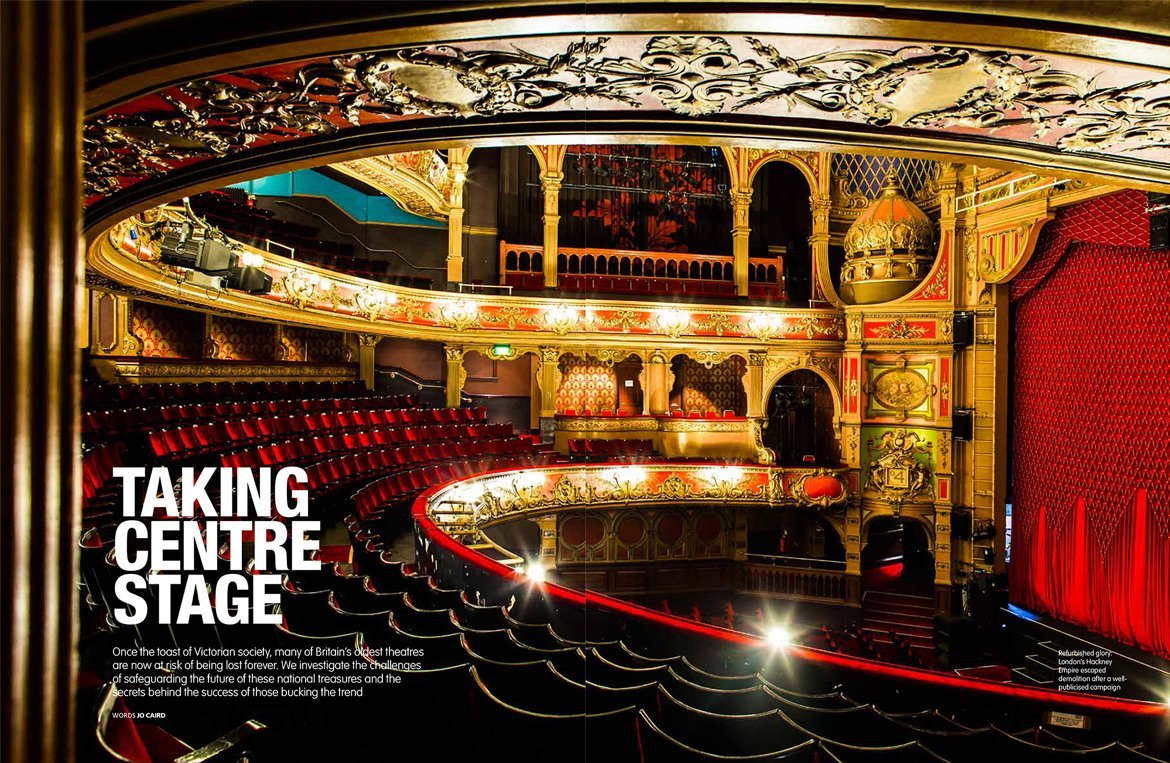 The main theatre of the Hackney Empire shot for Discover Britain Magazine - By Paris Penny - Commercial photographer Bristol